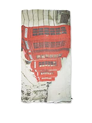 CHIC Women's London Phone Booths Digital Woven Viscose Scarf, Big Red, One Size