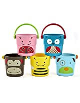 Skip Hop Zoo Stack and Pour Buckets, Rinse Cups/Multi, 3.40 x 3.60 x 2.90