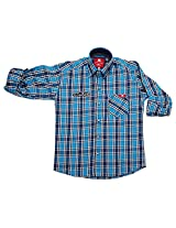 LITTLE MAN Cotton Boy's Shirt (LM9C2_16 , Blue, 16)