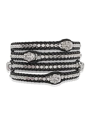 Lucie & Jade Echtleder-Armband Metallbeads, Totenkopf schwarz/silber