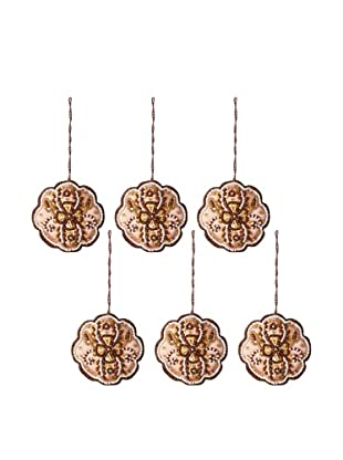 Jim Marvin Collection Set of 6 Pearl and Bead Flower Ornaments
