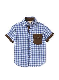 Upper School Checker Plaid Button-Up (Blue)