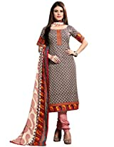Inddus Women Beige & Black Cotton Printed Dress Material