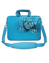Meffort Inc 15 15.6 inch Blue Color Matching Neoprene Laptop Bag Sleeve with Extra Side Pocket, Soft Carrying Handle & Removable Shoulder Strap - Heart
