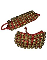 Prisha India Craft ® Kathak (5) Five Line Big Bells (16 No. Ghungroo) Good Quality Ghungroo Red Pad Indian Classical Dancers Anklet Musical Instrument Bharatnatyam, Kuchipudi, Odissi Ghungru