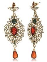 Tribal Zone Drop Earrings for Women (Red) (TZOFVDER0041-RED)
