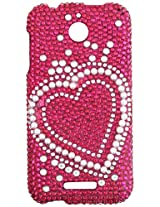Aimo Wireless Luxury Full Diamond Case for HTC Desire 510 - Retail Packaging - Heart Pearl/Pink