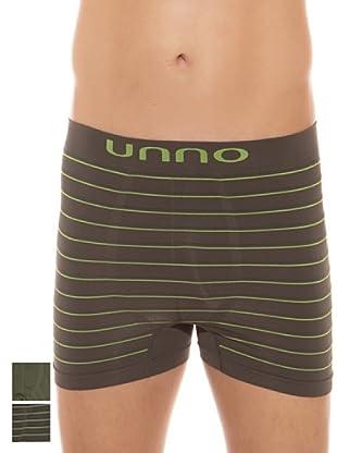 UNNO Boxer Pack x 2 (Verde Militar / Verde Oscuro)