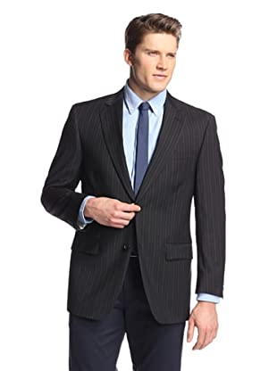 hickey Men's 2 Button Side Vent Striped Sportcoat (Black)