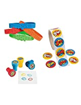 Superhero Party Favors Bundle Superhero Bracelets, Stickers, And Stampers