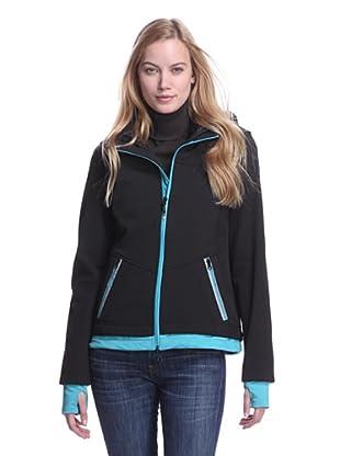 Halifax Women's Softshell Two-Fer Jacket (Black/Aqua)
