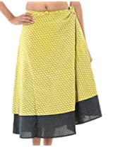 Rajrang Printed Cotton Sari Two Layer Long Wrap Around Skirt Open Waist