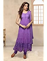 4010_Beautiful Latest Hot Puple Stiched Anarkali Suit