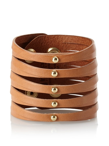 Linea Pelle Sliced Cuff with Dome Studs, Natural