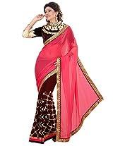 Inddus Women Pink & Burgundy H & H Georgette Saree