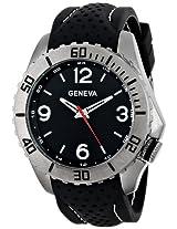 Geneva Men's 9310A-GEN Gunmetal-Tone Watch with Black Rubber Band