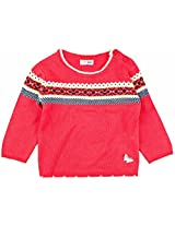 Infant Girls Full Sleeves Sweater With Jacquard Pattern, Pink (0-6 Months)