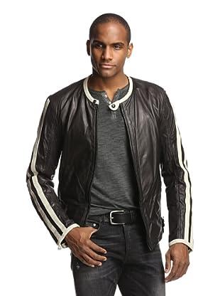 Denim & Leathers by andrew Marc Men's Rider Leather Jacket (Jet Black)