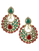 Karatcart 22K Goldplated Red and Green Stone Dangle Earings Set For Women