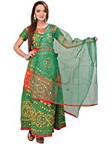 Exotic India Lehenga Choli from Rajasthan with Thread Embroidery and Large Sequi - Color Green And RedColor Free Size