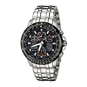 Stylish And Trendy Skyhawk A - T Edition Eco - Drive Watch With Black Dial and Silver Steel Strap By Citizen - Model Number JY0000 - 53E