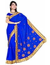 Somya Women's Embroidered Chiffon Royal Blue Saree with Booti work