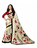Abida Printed White Color Bhagalpuri Art Silk Saree With Blouse Piece