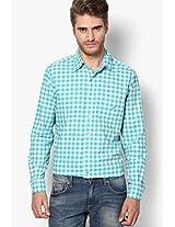 Aqua Blue Checks Casual Shirt Nautica