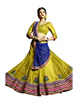 Kanheyas Womens Net Lehenga Choli (Kmtsd794 _Yellow And Blue _Free Size)