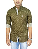 AA' Southbay Men's Olive Polka Printed 100% Cotton Mandarin Collar Long Sleeve Party Casual Shirt