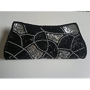 Black Designer Silk Clutch Bag