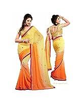 Bollywood Designer Yellow Chiffon Saree