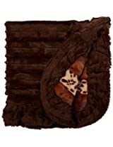 BESSIE AND BARNIE Pet Blanket, X-Small, Wild Kingdom/Godiva Brown with Ruffle