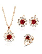 Shining Diva 18k Gold Plated Austrian Diamond Studded Necklace Earrings Ring Jewelry Set For Women 7223s