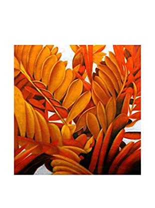 Legendarte Pintura al Óleo sobre Linezo Arbusti Floreali 80X80 Cm multicolor