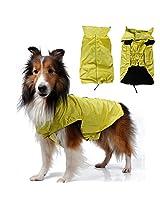 Imported Waterproof Dog Waistcoat Jacket Fleece Lined Raincoat Clothes XXXL Yellow