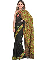 Exotic India Jet-Black Saree from Punjab with Phulkari Hand-Embroidered - Black