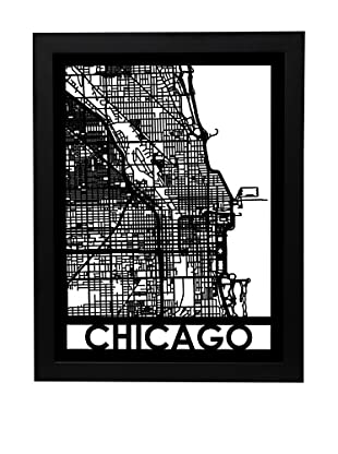 Cut Maps Chicago Framed 3-D Street Map