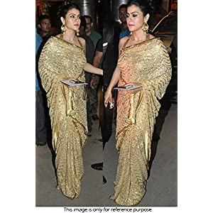 Bollywood Style Kajol Georgette Saree In Yellow Gold Colour NC746