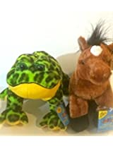 2 Webkinz With Sealed Feature Code Tags Plush Set Bull Frog And Hard To Find Brown Arabian Horse Brand New Never Activated