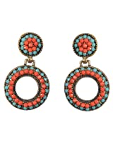 Saadi Gali Ceramic Hoop Earring For Women (Orange)