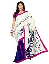 Admyrin White and Blue Printed Saree with Pink Blouse