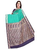 Ghasitaram Green and Neavy Blue Silk Saree/Sari (F-57)