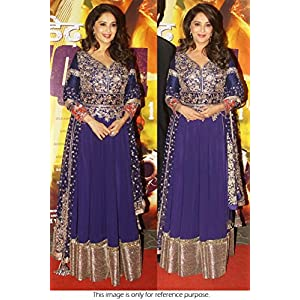 Bollywood Replica Madhuri Dixit Raw Silk and Georgette Suit In Blue Colour NC417