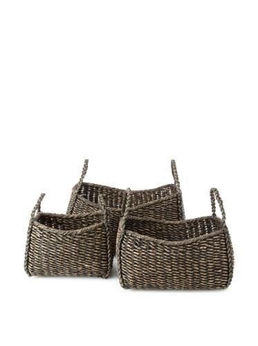Wald Imports Set of 3 Oversized Seagrass Kalas Baskets (Dark)
