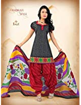 Stylish Grey Printed Cotton Patiala Unstitched Suit S3