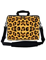 Meffort Inc 15 15.6 inch Neoprene Laptop Bag Sleeve with Extra Side Pocket Soft Carrying Handle & Removable Shoulder Strap for 14 to 15.6 Size Notebook Computer - Leopard Prints Design