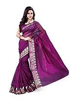"Asavari ""Meenakari"" Magenta Cotton Net Banarasi Saree"