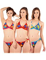 Urbaano Lively Floral Halter-neck Set - Red, Pink & Blue - UR7008T (36)