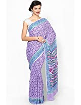 Cotton Violet And Blue Saree Aapno Rajasthan